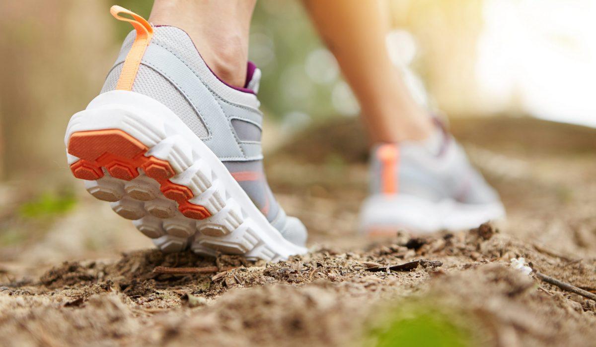 Chaussure de running sur un chemin de forêt